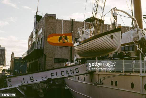 Rear portion of the Spanish navy training ship Juan Sebastian Elcano a tallship originally built in 1928 which is used to train sailors 1965