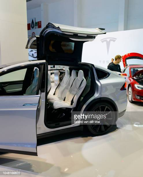 Rear side view of a Tesla Model X P90D full electric luxury crossover SUV car on display at Brussels Expo on January 13 2017 in Brussels Belgium The...