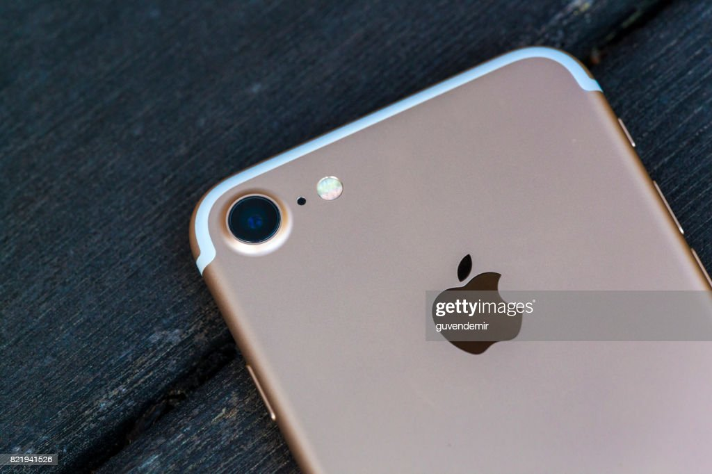 Rear veaw of a gold Iphone 7 : Stock Photo