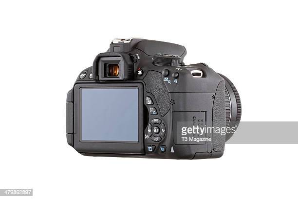 Rear view and LCD detail of a Canon EOS 700D DSLR camera photographed on a white background taken on July 15 2013