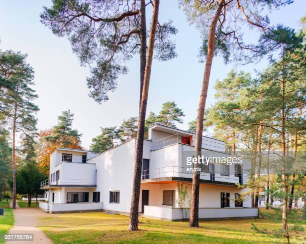 rear view master house from feininger / moholy-nagy - dessau bauhaus - bauhaus art movement stock pictures, royalty-free photos & images