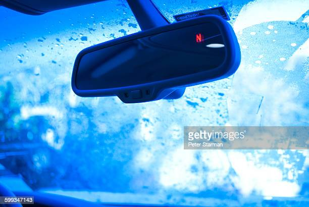 Rear view mirror in cold weather.