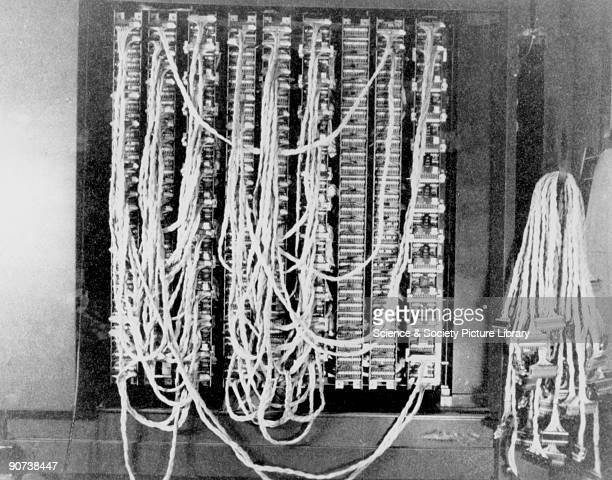 Rear view of a British Bombe decoding machine plugged up with three menus in hut 11a at Bletchley Park Buckinghamshire the British forces'...