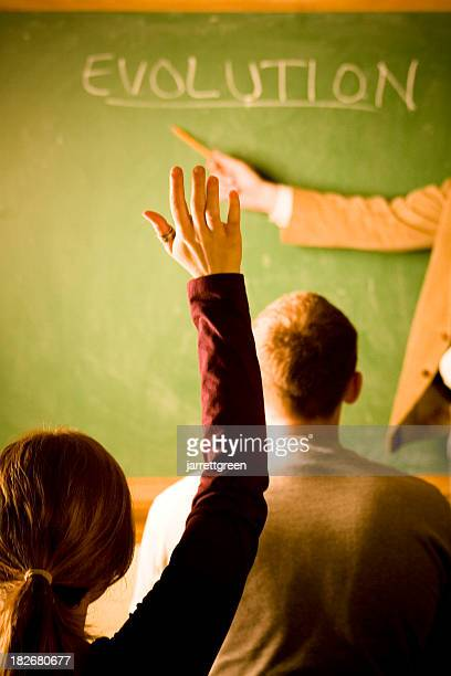 Rear view of a classroom with one student's raised hand