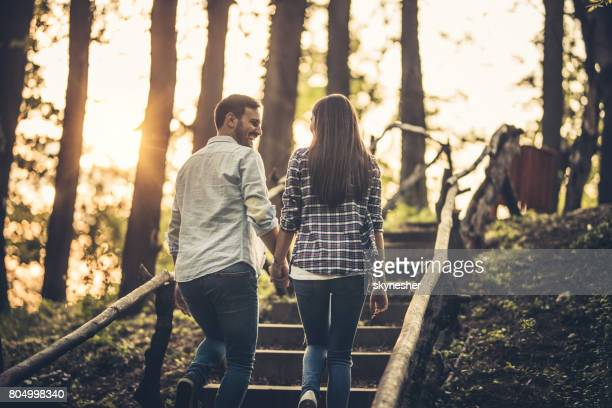 Rear view of a couple holding hands and walking up the stairs in nature.