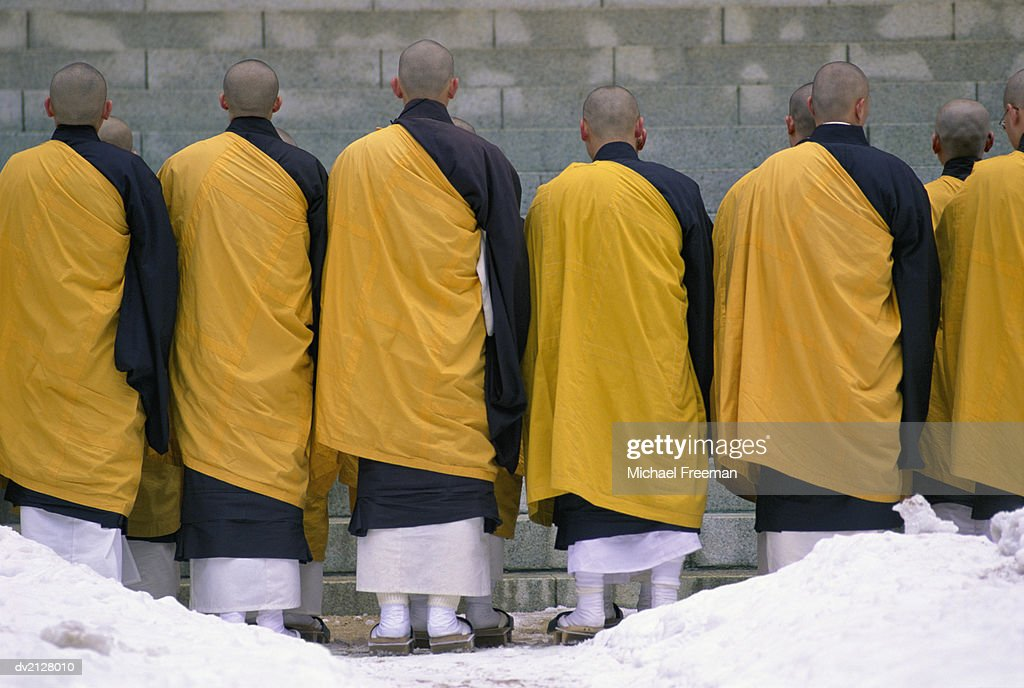 Rear View of a Group of Buddhist Monks : Stock Photo
