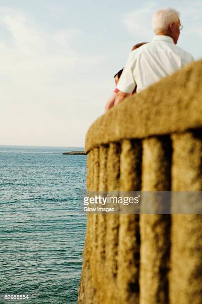 rear view of a man at the observation point, baie de biarritz, biarritz, pyrenees-atlantiques, france - ピレネーアトランティーク ストックフォトと画像