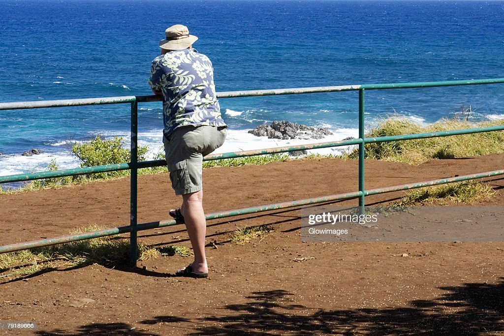 Rear view of a man leaning against a railing on the beach, Hookipa Beach, Maui, Hawaii Islands, USA : Foto de stock