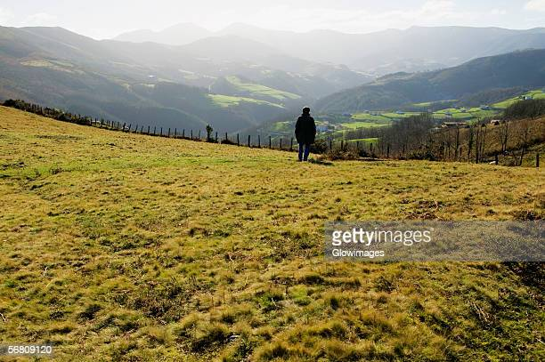 Rear view of a man standing on a hillside, Spain
