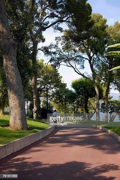 Rear view of a man walking on a walkway, Monte Carlo, Monaco