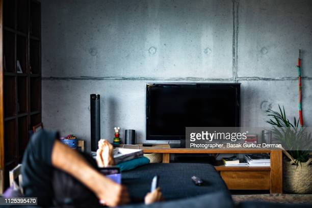 rear view of a man watching television in a living room - televisión fotografías e imágenes de stock