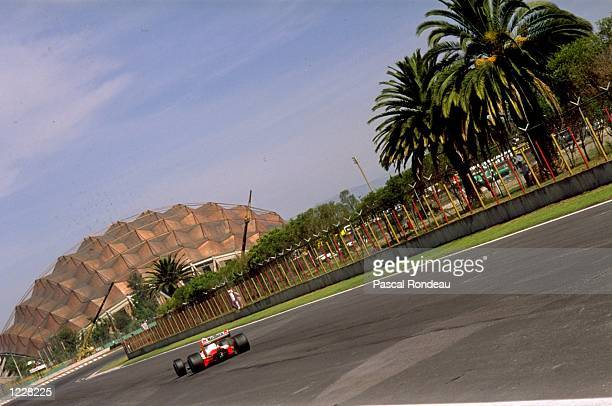 Rear view of a McLaren driver in action during the Mexican Grand Prix at the Mexico City circuit. \ Mandatory Credit: Pascal Rondeau/Allsport