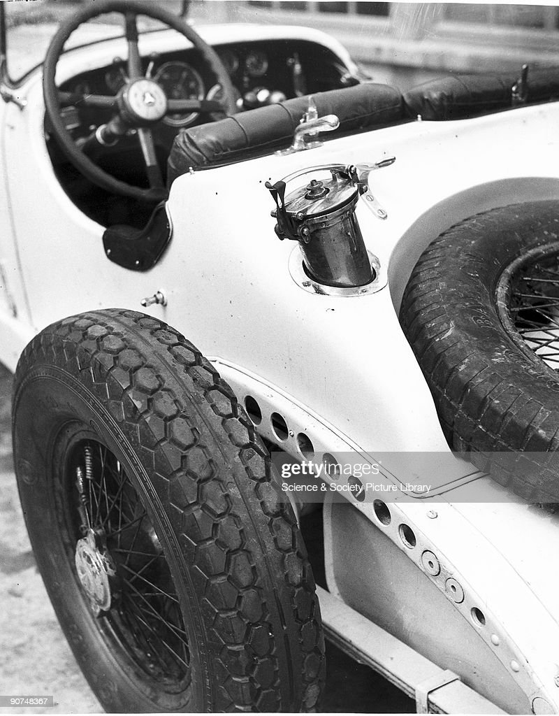 Rear view of a Mercedes-Benz SSK racing car showing rear suspension