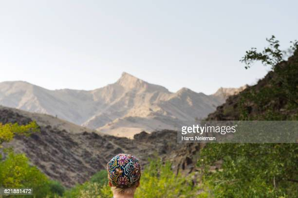 Rear view of a person looking mountains