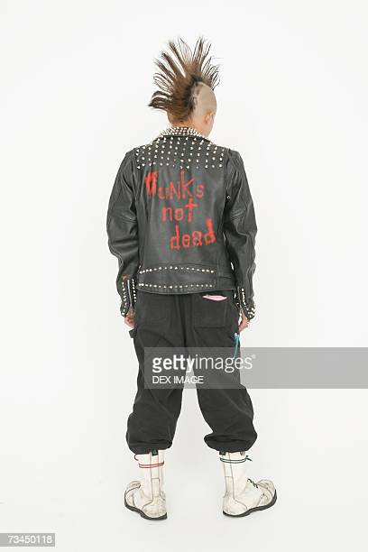 Rear view of a punk young man