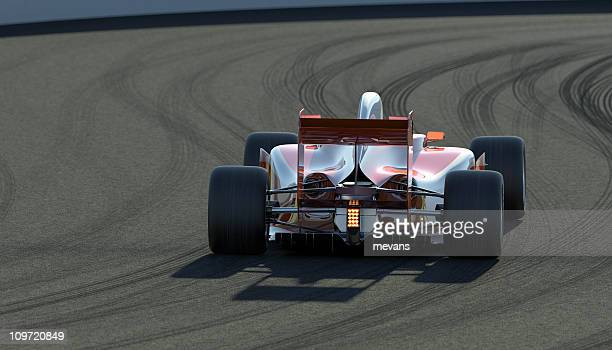 Rear view of a racing car on the track