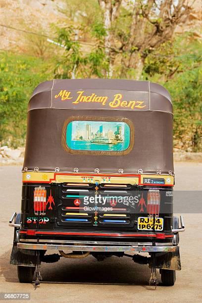 rear view of a rickshaw, jaipur, rajasthan, india - rickshaw stock pictures, royalty-free photos & images