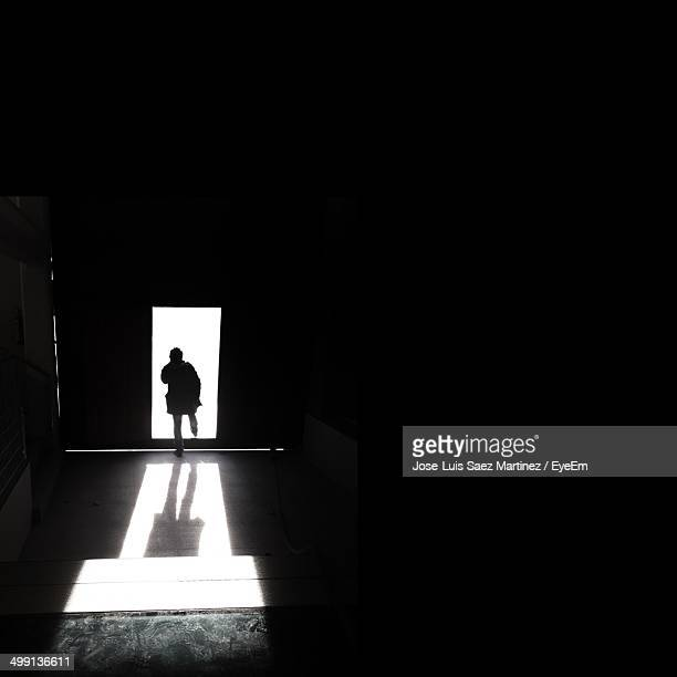Rear view of a silhouette man walking through open door