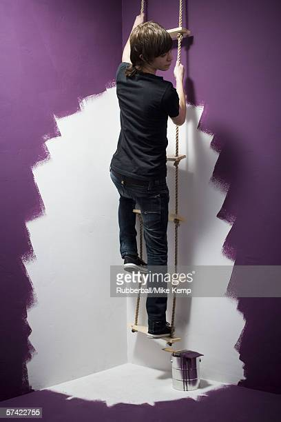 Rear view of a teenage boy climbing a ladder