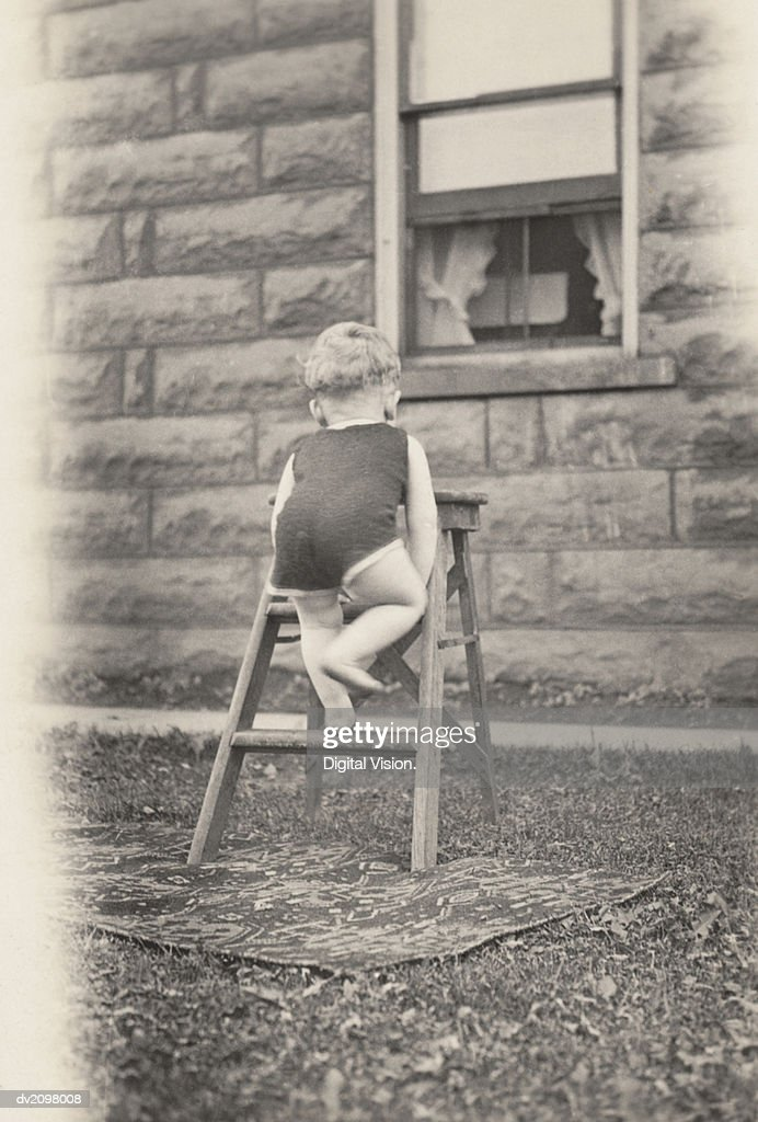 Rear View of a Toddler Climbing a Stepladder in a Garden : Stock Photo