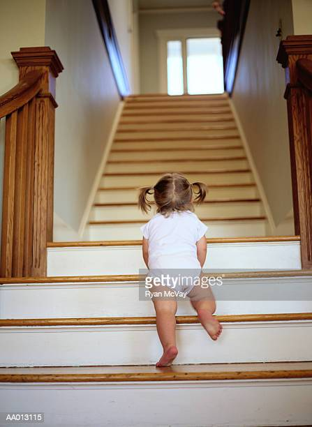 Rear View of a Toddler Crawling Up Stairs