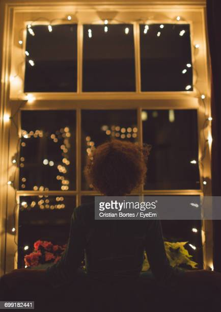 Rear View Of A Woman Against Window