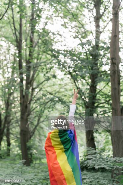 rear view of a woman covered in a rainbow flag showing the victory sign - regenbogenfahne stock-fotos und bilder