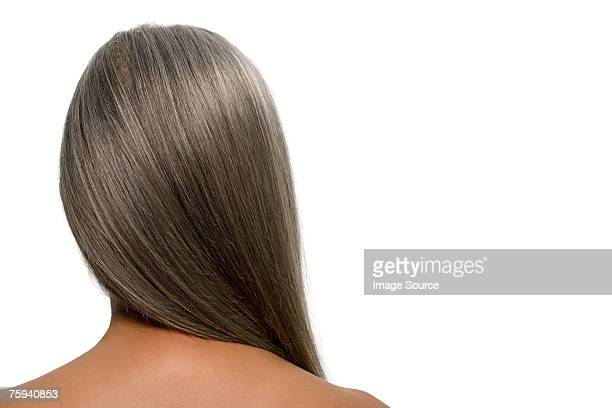 rear view of a woman with gray hair - long hair stock pictures, royalty-free photos & images