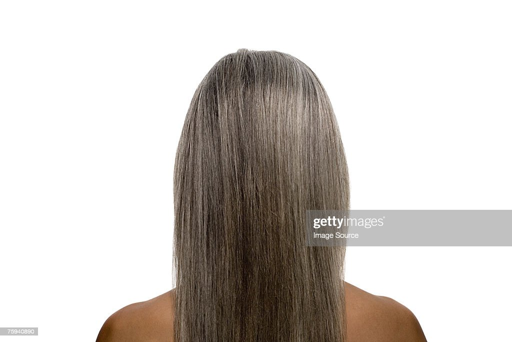 Rear view of a woman with gray hair : Stock Photo
