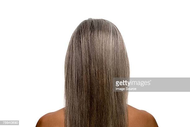 Rear view of a woman with gray hair