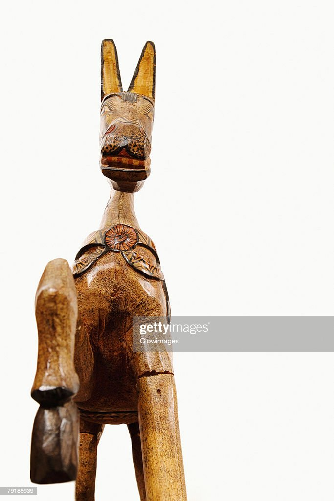 Rear view of a wooden horse : Stock Photo
