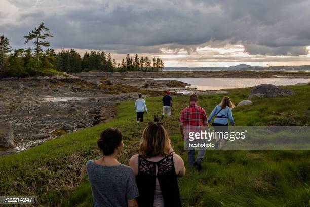 rear view of adult family walking to coast in maine, usa - heshphoto stock pictures, royalty-free photos & images