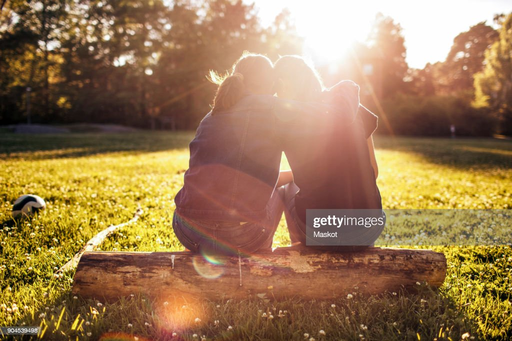 Rear view of affectionate sisters sitting on log at park during sunny day : Stock Photo