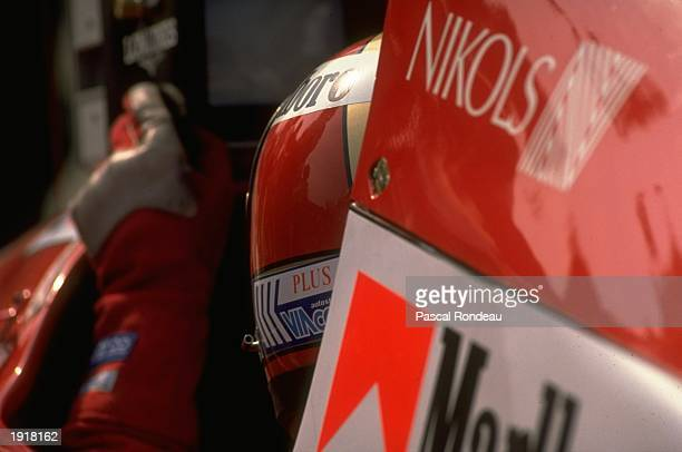 Rear view of Alex Caffi of Italy in his Dallara Cosworth before the Mexican Grand Prix at the Mexico City circuit Caffi finished in 13th place after...