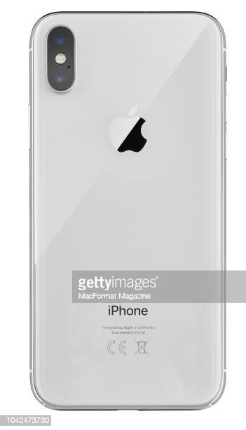 Rear view of an Apple iPhone X smartphone taken on November 6 2017