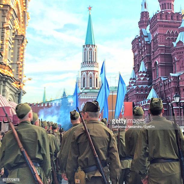 Rear View Of Army Marching At Red Square