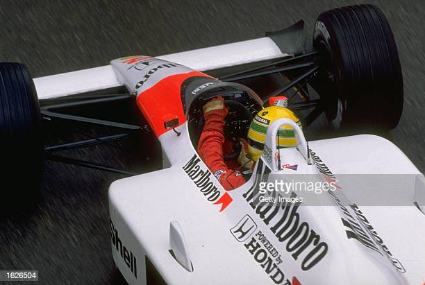 Rear view of Ayrton Senna of Brazil in his McLaren Honda before the Monaco Grand Prix at the Monte Carlo circuit in Monaco Senna retired from the...