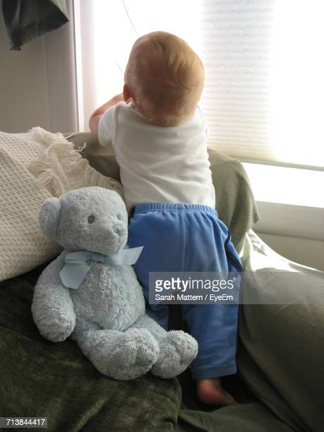 Rear View Of Baby With Teddy Bear On Sofa Against Window