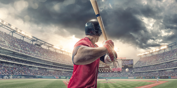 Rear View of Baseball Batter About to Hit During Game 533835886
