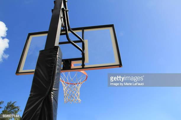 Rear view of basketball hoop and transparent backboard