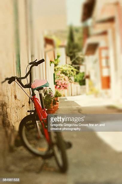 rear view of bicycle - gregoria gregoriou crowe fine art and creative photography. - fotografias e filmes do acervo