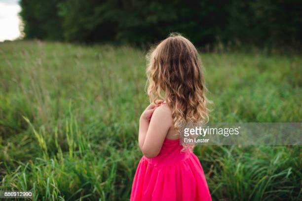 Rear view of blond haired girl looking out over field