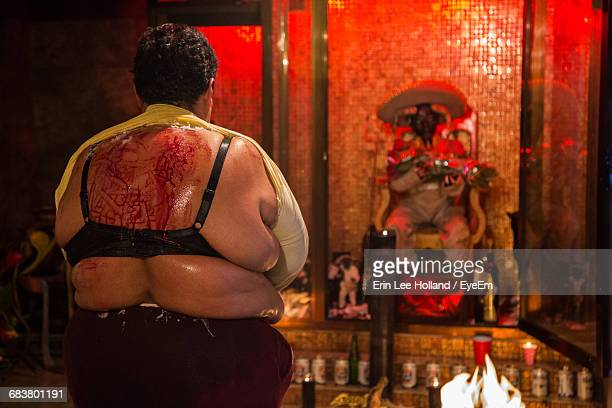 Rear View Of Blooded Back Of Woman