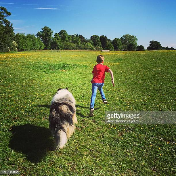Rear View Of Boy And Rough Collie Running On Grass Against Blue Sky