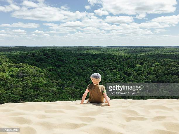 Rear View Of Boy At Dune Du Pilat