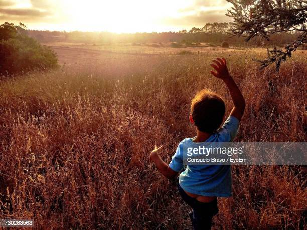 Rear View Of Boy Dancing On Field Against Sky During Sunset