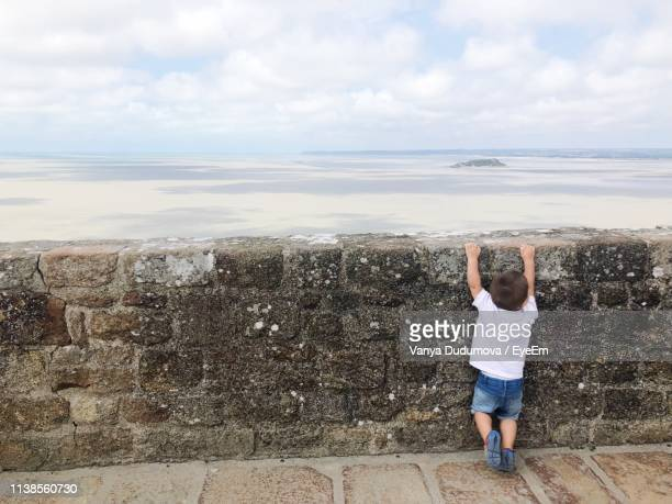 rear view of boy hanging on retaining wall against sea - 石垣 ストックフォトと画像