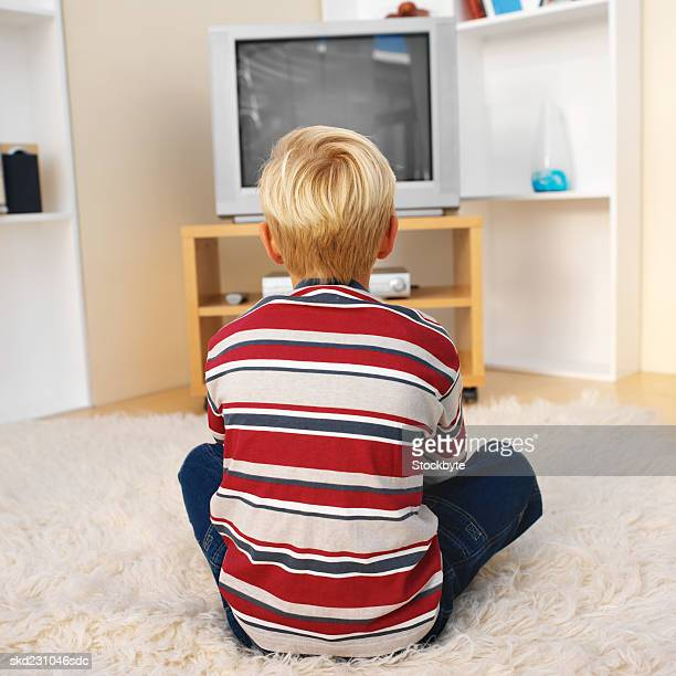 Rear view of boy playing computer game (10-11)