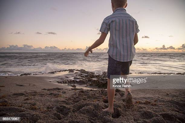 rear view of boy playing on beach at sunrise, blowing rocks preserve, jupiter island, florida, usa - jupiter island stock photos and pictures