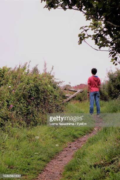 Rear View Of Boy Standing On Grassy Field Against Clear Sky